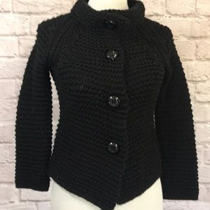J. Crew Black Wool hand knit sweater, XS